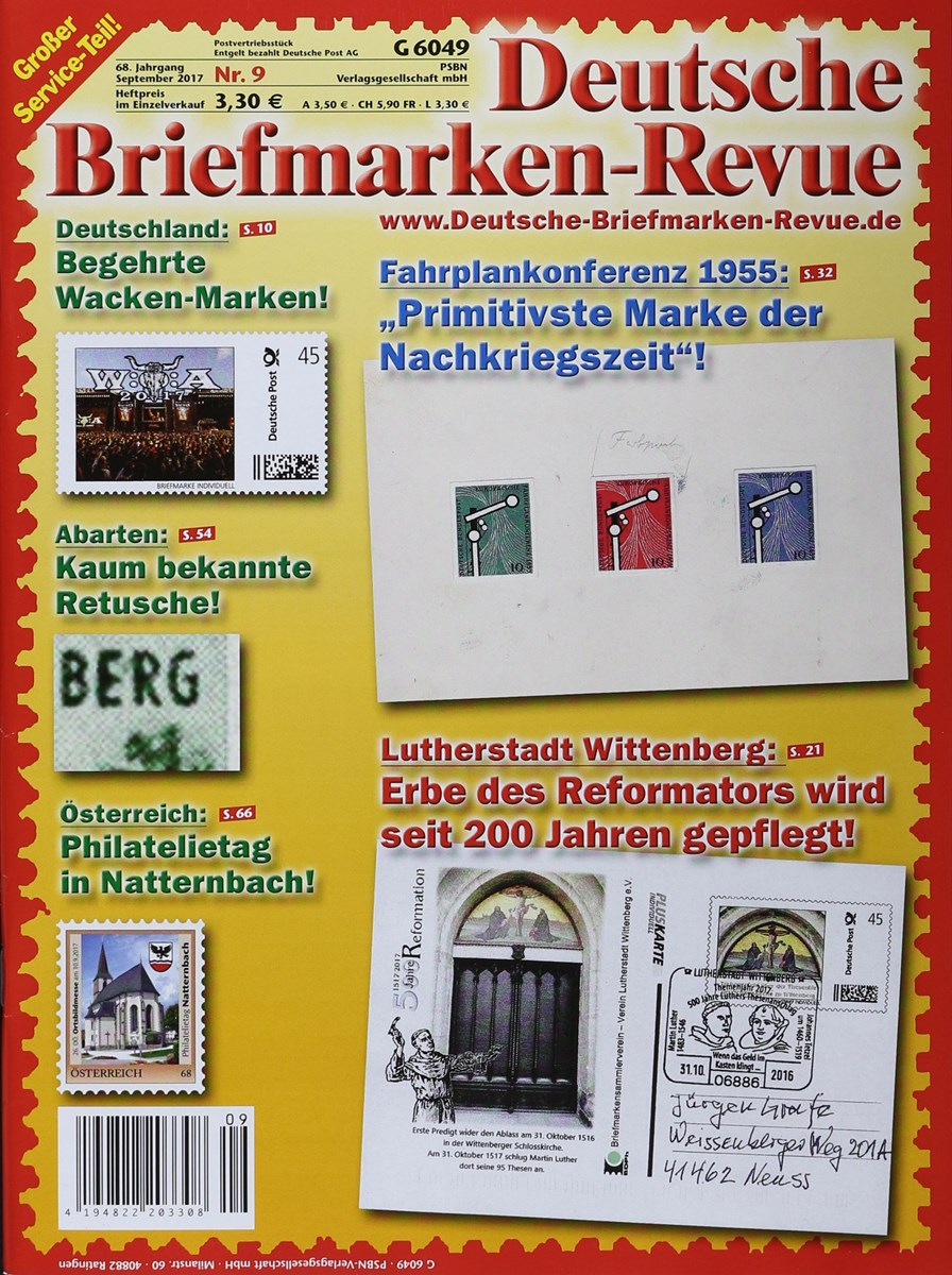 Deutsche Briefmarken Revue 92017 Zeitungen Und Zeitschriften Online