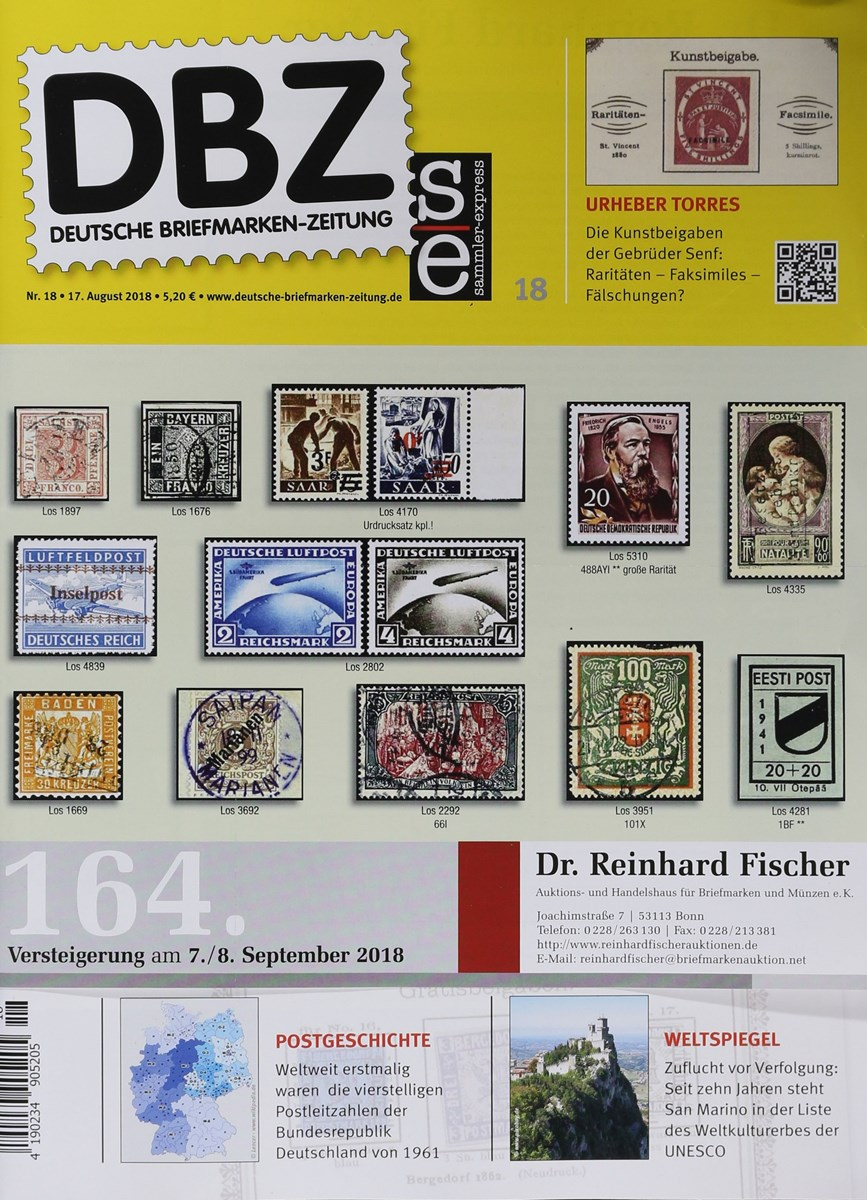 Dbz Deutsche Briefmarken Zeitung 182018 Zeitungen Und